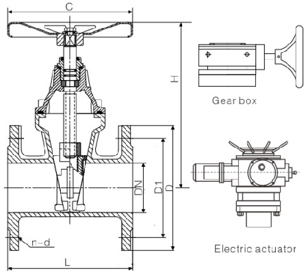 Drawing of DIN resilient seat non-rising stem gate valve.