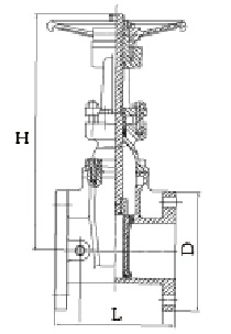 Drawing of AWWA C509 resilient seat OS&Y gate valve.